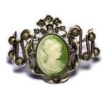 Steampunk Green Cameo Bracelet