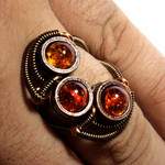 Triple Amber Steampunk Ring