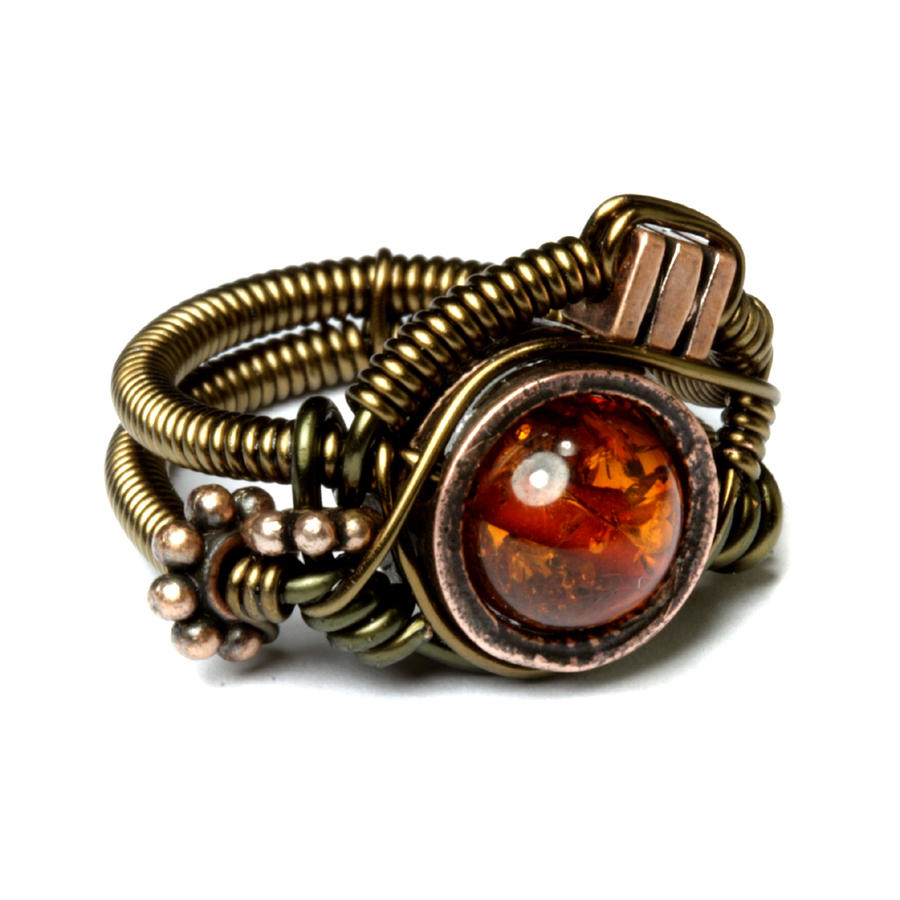 Steampunk Asymmetrical Amber Ring by CatherinetteRings