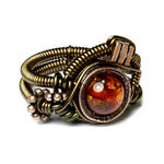 Steampunk Asymmetrical Amber Ring