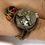 Steampunk Ring Amber and Watch Movement