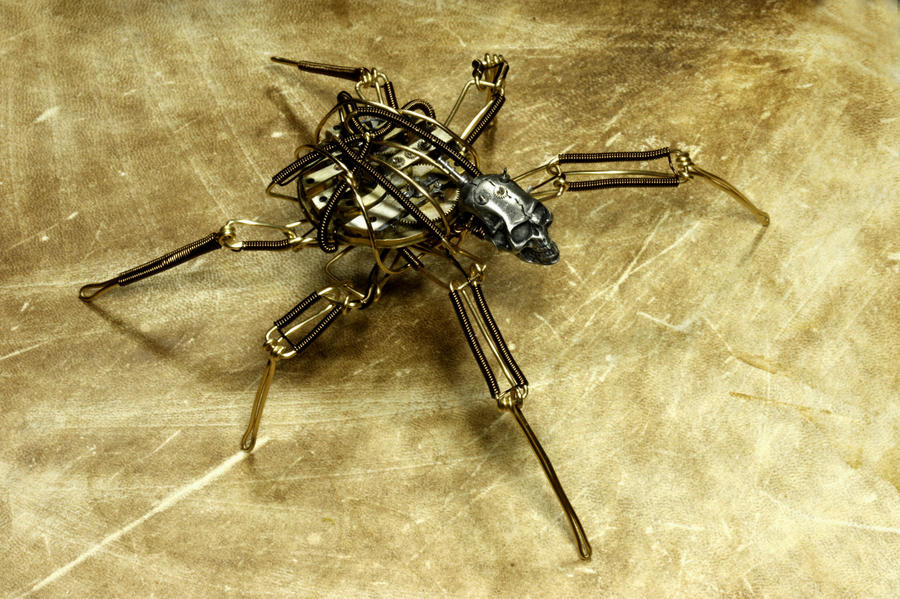 Steampunk Skull Insect Robot Sculpture by CatherinetteRings