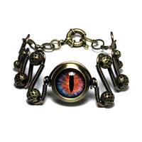 Steampunk Fire Dragon Eye Bracelet by CatherinetteRings