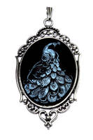 Neo Victorian- Pendant - Blue Peacock Cameo by CatherinetteRings