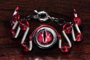 Cyberpunk Evil Red Dragon Eye Bracelet by CatherinetteRings
