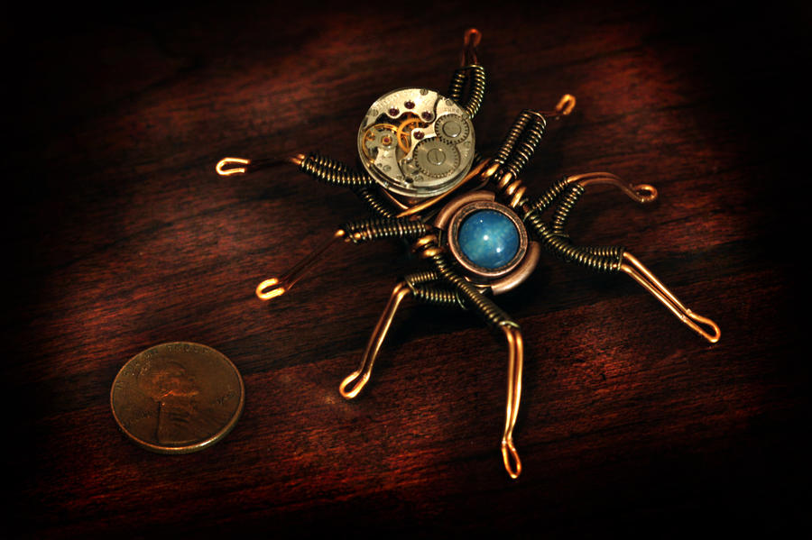 Steampunk Spider Lapel pin by CatherinetteRings