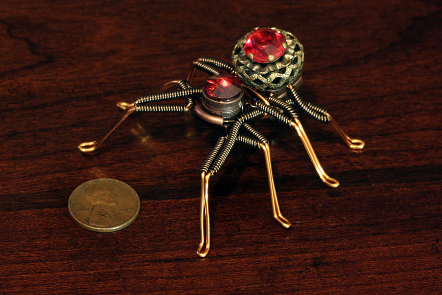 Steampunk Spider Lapel pin Ruby Red