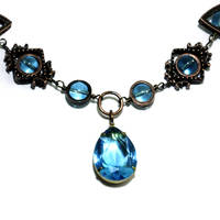 Light Aqua Jewel Necklace by CatherinetteRings