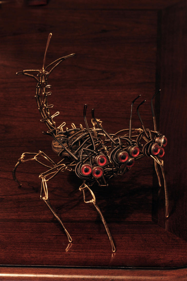 Insectoid Steampunk Alien Three Headed Hell Hound by CatherinetteRings