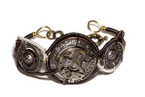 Steampunk Bracelet - Watch Movement - Cybersteam by CatherinetteRings