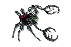 Steampunk Crab Sculpture with red Jewel by CatherinetteRings