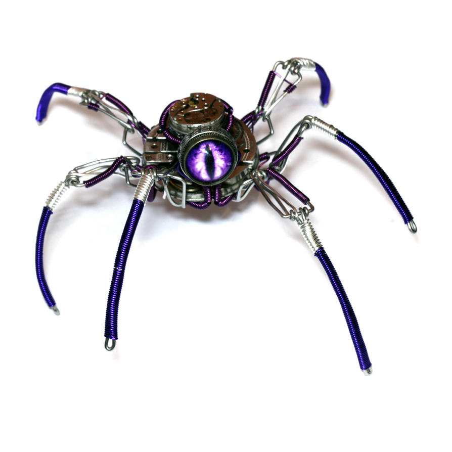 Steampunk Purple Insect Sculpture by CatherinetteRings