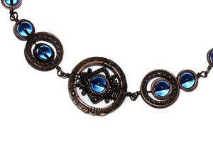 Necklace - Dark Aqua - Copper Tone Star Gate by CatherinetteRings