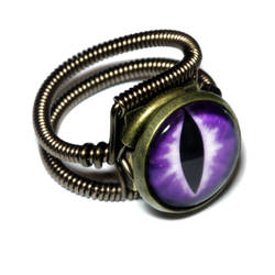 Steampunk Jewelry - Ring - Purple Dragon glass Eye