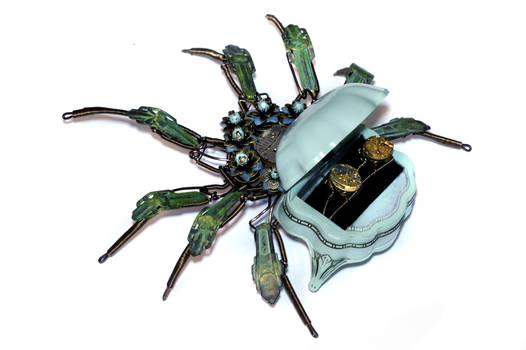 Steampunk Ring box Robot Spider Sculplture
