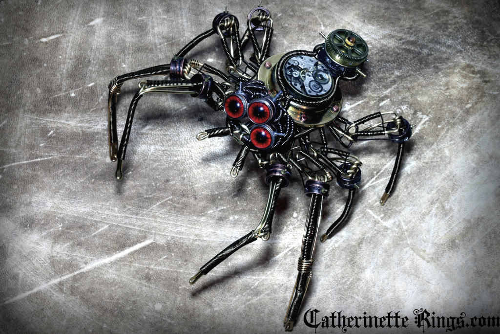 Steampunk Clockwork Spider Sculpture by CatherinetteRings