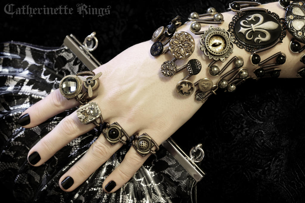 Black and Gold Steampunk Jewelry by CatherinetteRings on DeviantArt