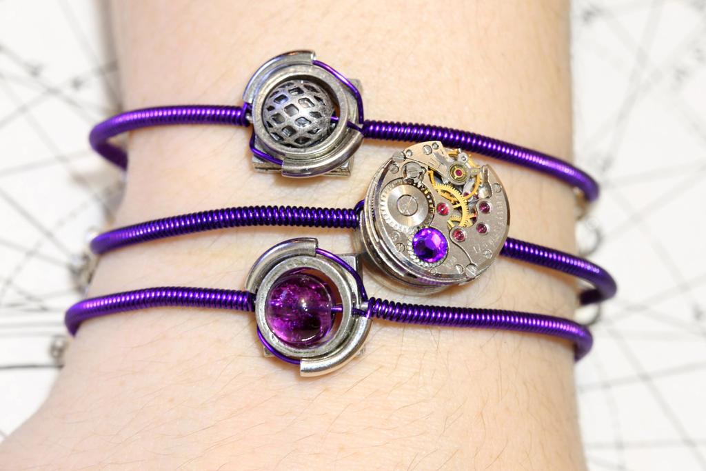 Cybersteam Purple bracelets by CatherinetteRings