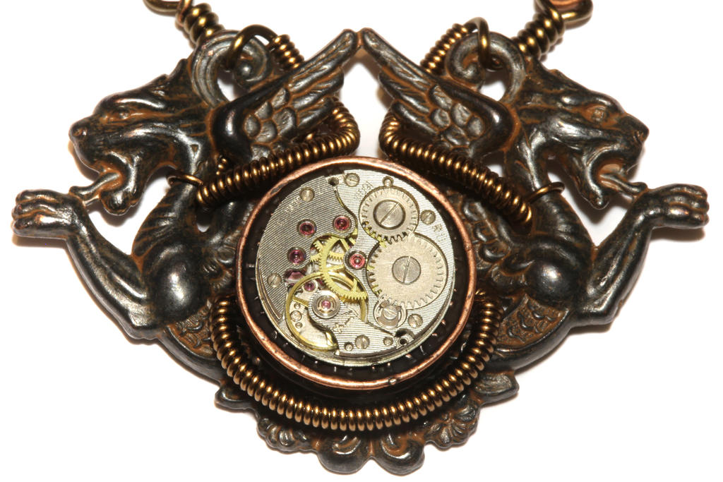 Steampunk medieval Dragon Necklace by CatherinetteRings