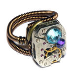 Steampunk Ring - Heliotrope and aquamarine crystal
