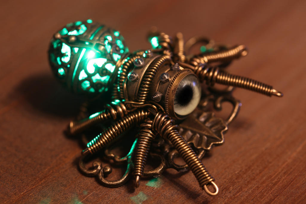 My newest creation ... a glowing spider brooch.