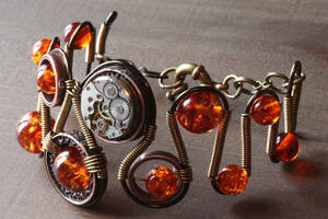 Steampunk Bracelet with Amber by CatherinetteRings