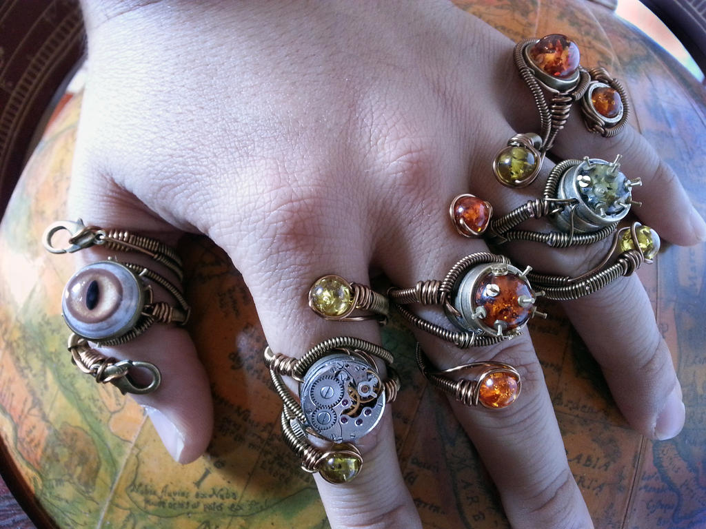 5 Steampunk adjustable rings by Daniel Proulx