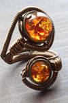 Steampunk Amber Adjustable Ring