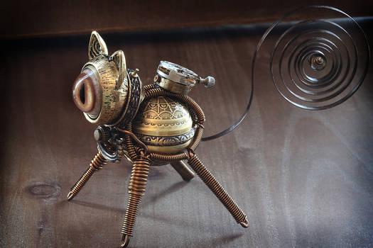 Little Steampunk cat sculpture.