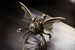 Steampunk Cthulhu Minion robot miniature sculpture by CatherinetteRings