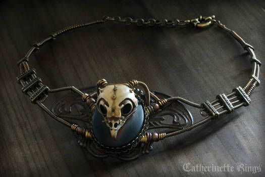 Steampunk Necklace Owl skull - Faux-taxidermy