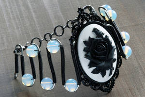 Gothic Chic Bracelet with black rose by CatherinetteRings