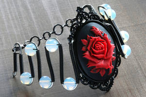 Gothic Chic Bracelet with red rose by CatherinetteRings