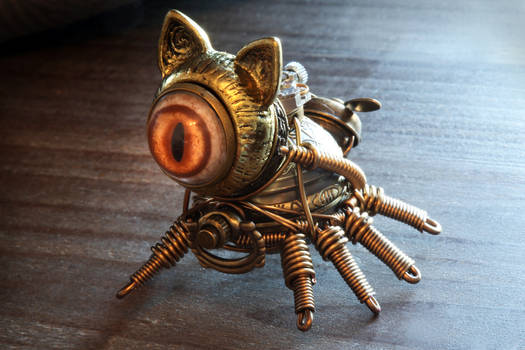 8 legged steampunk cat robot