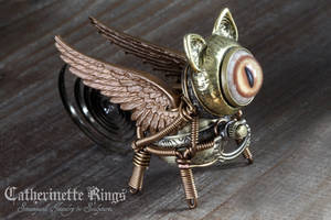 Steampunk Griffin Minion Robot Miniature Sculpture by CatherinetteRings