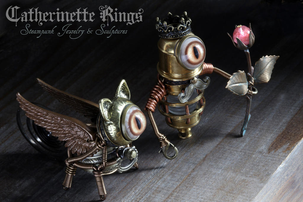 Steampunk Griffin and King Minion Robot by CatherinetteRings