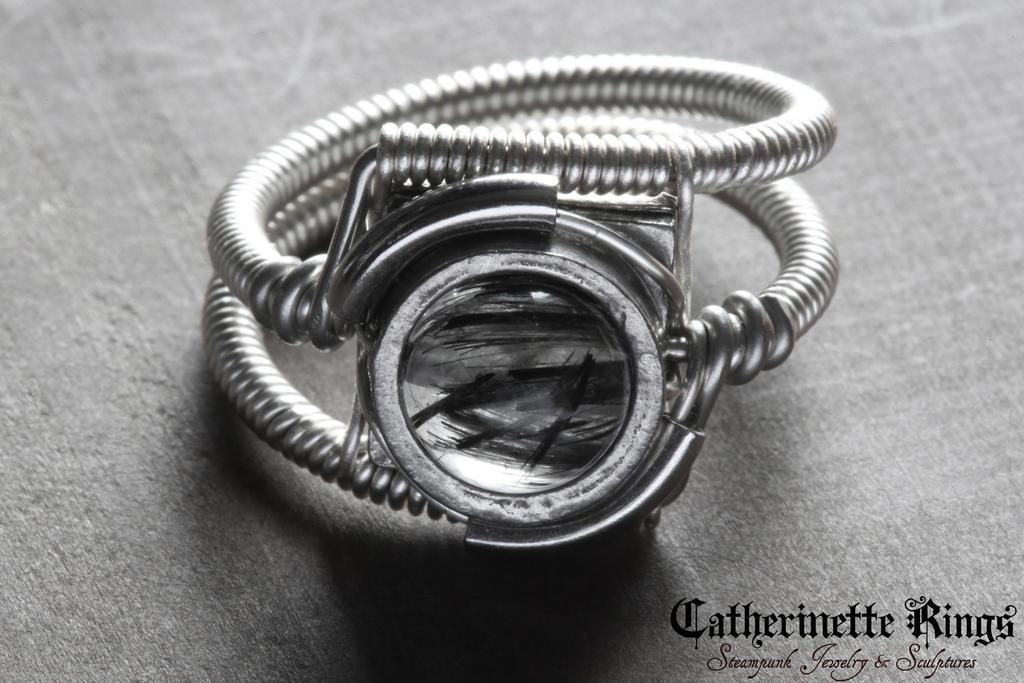 Black rutilated quartz ring by CatherinetteRings