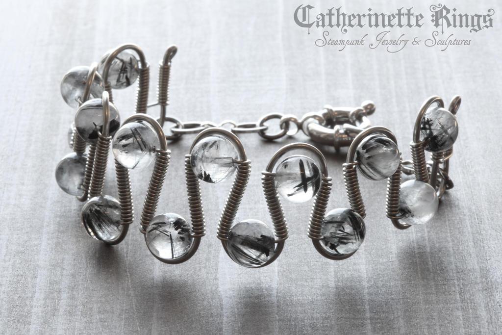 Black rutilated quartz Bracelet by CatherinetteRings