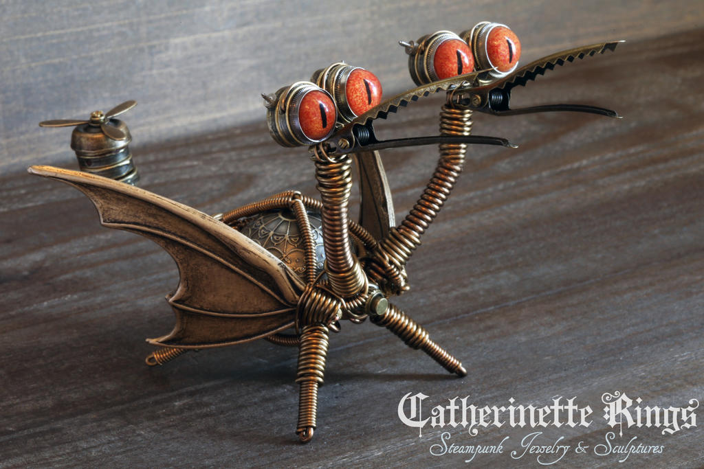 Two-headed Steampunk Dragon Minion Robot by CatherinetteRings