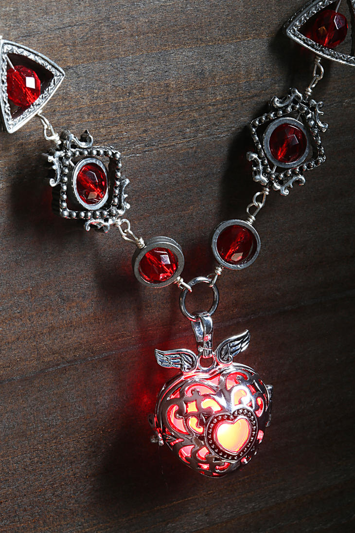 Red Glowing Winged Heart Necklace by CatherinetteRings