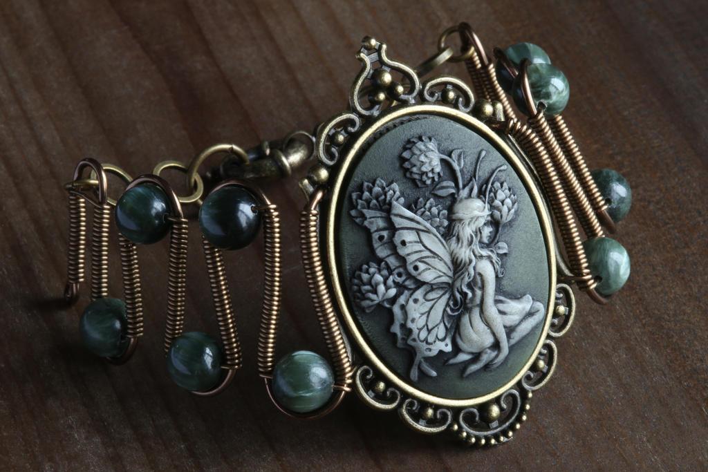 Fairy bracelet with green seraphinite by TheWizardsVault on DeviantArt