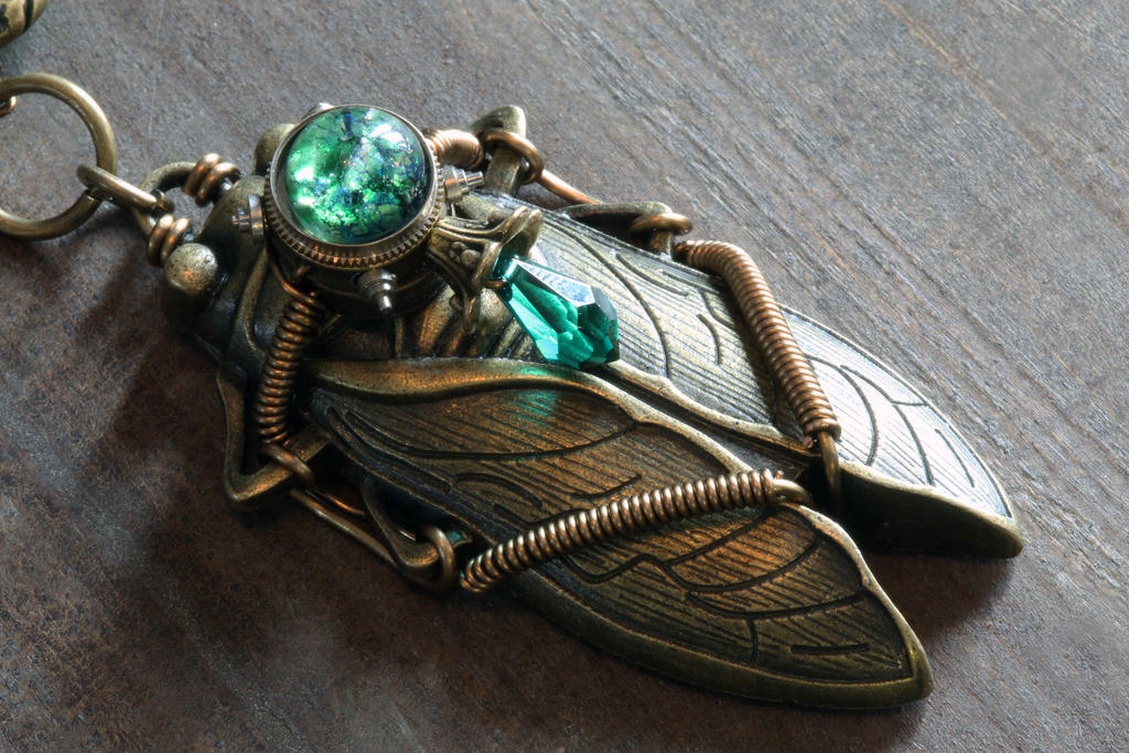 Steampunk Emerald Cicada Pendant by CatherinetteRings