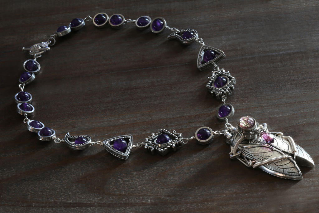 Steampunk Amethyst Cicada Necklace by CatherinetteRings