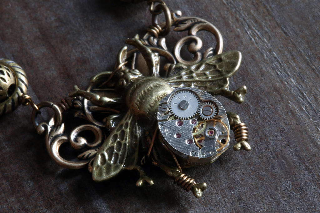 Clockwork Bumblebee Pendant by CatherinetteRings