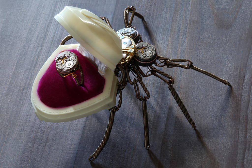 Steampunk Victorian Spider Ring Box Sculpture Open by CatherinetteRings