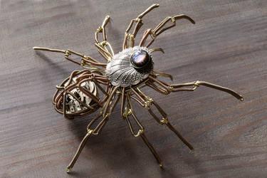 Steampunk Spider Sculpture with Tanzanite glass