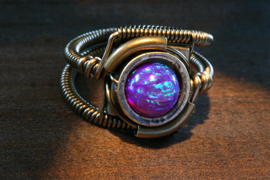 Steampunk Ring with purple galaxy opal by CatherinetteRings