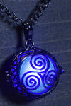 Glowing triskelion necklace blue glowing orb