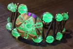 Uranium glass bracelet with dragonflies