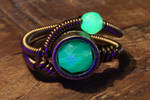 Uranium glass Steampunk ring no.2